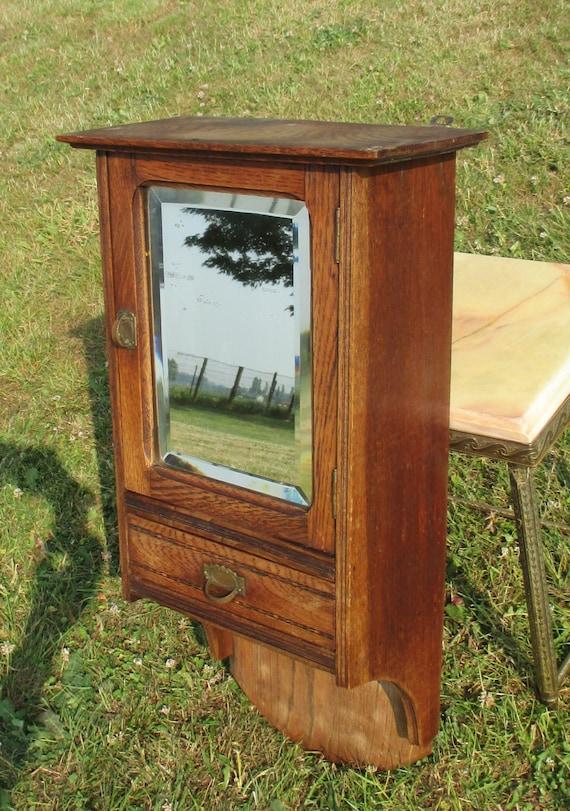 antique french massive oak medicine bathroom cabinet beveled. Black Bedroom Furniture Sets. Home Design Ideas