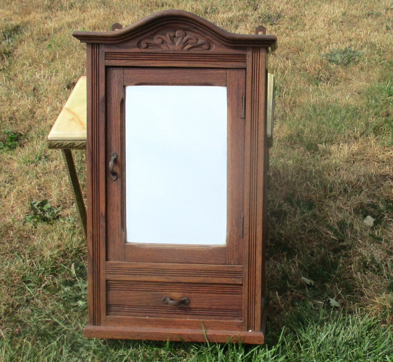 antique carved wood medicine bathroom cabinet beveled