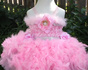 Pink feather Tutu dress, flower girl,pageant, ballerina,birthday, wedding, theme wear,glitz,dance costume 0-8years