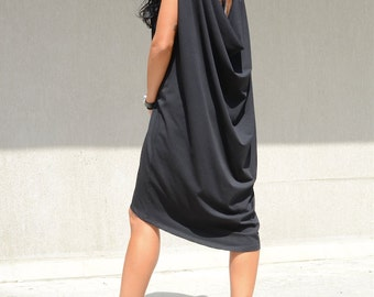 Loose maxi asymmetric oversize dress, oversized casual everyday clothing, black draped dress, black maxi dress, clothing for plus size women