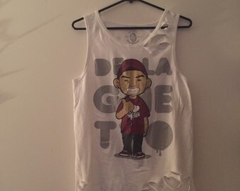 Delagheto Ripped Tank. White size small.