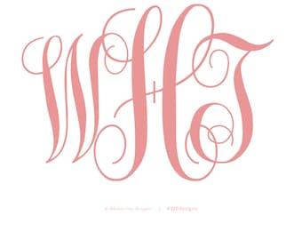 DIGITAL FILE | Custom Monogram Design  |  Bride & Groom  |  Personal Monogram  |  Last Name  | Chic  |  Modern  |