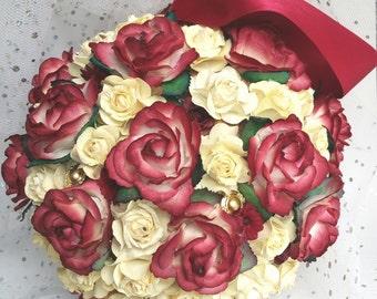 Burgundy and ivory pomander, bridesmaid pomander, flower girl pomander, burgundy wedding, rustic pomander, pomander ball, autumn wedding