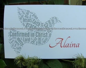 Personalized Typography Word Art Confirmation Card