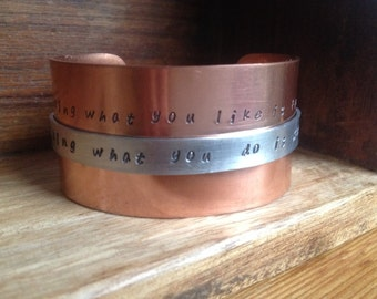 Stamped copper cuff bracelet