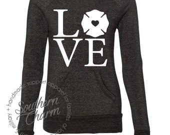 Firefighter Love Firewife Firefighter Slouchy Sweater