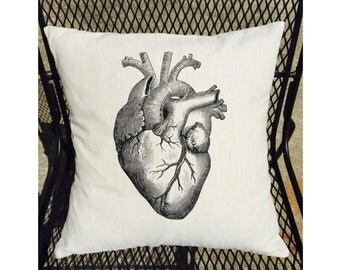 Anatomical Heart Graphic on 100% Linen Pillow Cover