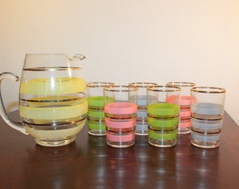 Federal Glass Small Pitcher and 6 Juice Glasses with Colorful Stripes and Gold Trim