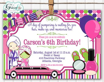 Spa Party Invitation, Spa Invitation, Spa Party, Spa Birthday Party, Spa Invite, Girls Day Out