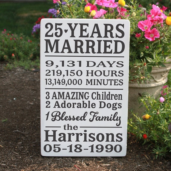 25th Wedding Anniversary Gift Ideas For Him: Personalized Anniversary Wood Sign / 25 Year Anniversary Wood