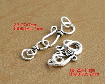 925 Silver S Hook Clasp Thai Sterling Silver Clasps With 2 Closed Loops Eye Clasp Set High Quality Y187