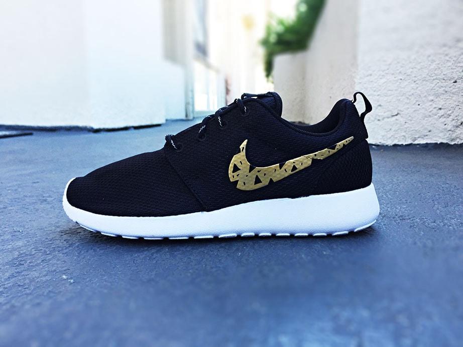 Womens Custom Nike Roshe Run shoes Gold and Black tribal