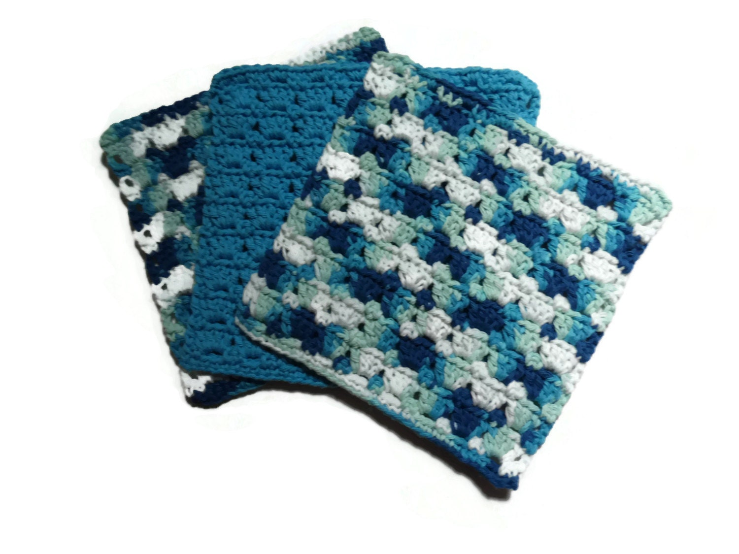 Crocheting Dish Rags : Three Crochet Dish Cloths Dish Rag Wash Cloth Blue by RignalJane