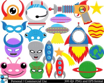 Alien Props set 2 - Set Clipart Digital Clip Art Graphics Personal Commercial Use - 67 PNG images (00203)