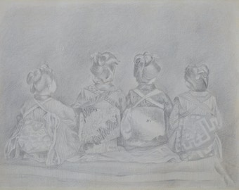 Chatting Ladies - Original SILVERPOINT Drawing - Unique Artwork - 32×41cm, Home Decor, Living Room Wall Decor, Wall Hanging Art