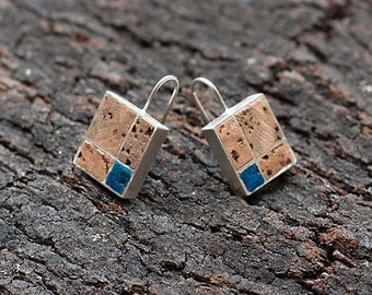 "Silver and Cork Earrings ""Hideout 1"" - Handmade Jewelry - FREE SHIPPING"