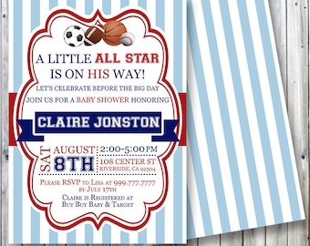 A Little All Star Is On His Way Sports Theme Baby Shower Invitation Blue Red DIY Printable Digital Copy Only Can Customize Everything
