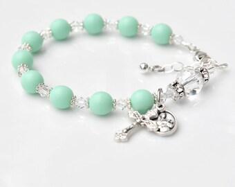 Pregnancy Motherhood Childbirth Fertility - Matte Mint Green Rosary Bracelet - Saint Gerard - Swarovski Crystal -Custom Initial -Prayer Card