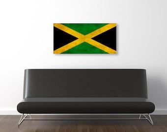 Vintage Jamaican Flag,  Room Decor, Gift Ideas, Fine Art Canvas Prints, Photo Prints, Wall Art, Vintage Jamaican Flags Prints [PXCF041-C]