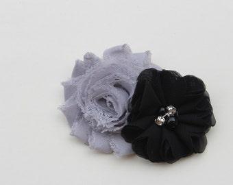 Grey and black hair clips, grey hair bows, black hair clips, black and grey hair bows, grey hair accessories girls hair bows