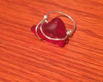 Sizzling Red Seaglass Shard Sterling Silver Ring Size 5.5