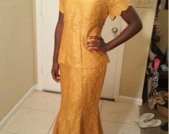 African print maxi skirt suit.