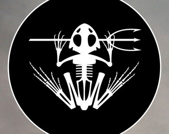 Navy SEAL Stickers - Homage to the frogman, Navy SEAL frog skeleton 0036