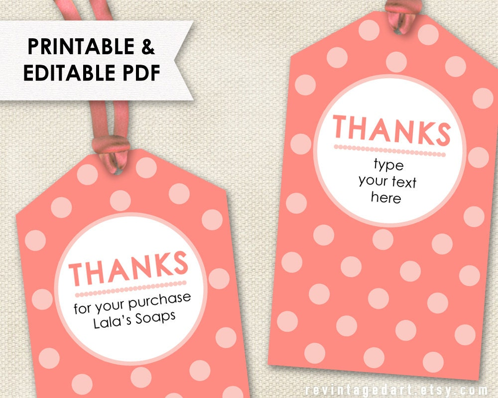 thank you tags pink coral rose printable editable pdf custom modern template for showers. Black Bedroom Furniture Sets. Home Design Ideas
