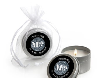 Mr. & Mrs. - Silver Candle Tin Custom Wedding Favors - 12 Count