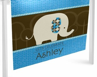 Blue Elephant Table Runner - Custom Baby Shower or Birthday Party Decorations - Personalized Party Supplies