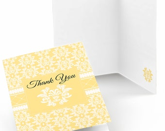 Set of 8 Thank You Cards - Damask Yellow - Note Cards