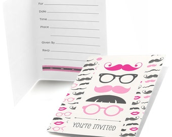 8 Pink Mustache Bash - Party Fill In Invitations - Party Supplies