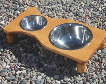 SMALL Raised Dog Feeder, U-Choose Tint and Height, Large 3qt & Small 3/4qt Bowls, Cat Dish Holder, Elevated Dog Bowls, Cat bowls, Solid Pine