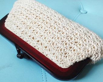 1960s crochet clutch + Vintage bag with lucite clasp