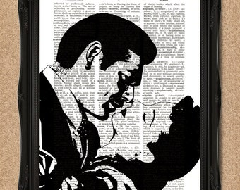 Gone With The Wind Print Rhett Butler and Scarlet O'Hara Dictionary Page Style 8x10 Upcycled Book Page Wall Art Decor Original Artwork A143