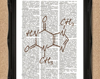 Chocolate Dictionary Print Molecular Structure of Chocolate Science Print A008