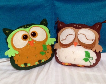 Whimsical Felt Owl Plush - in Felt with Intricate Embroidery and Appliqué.