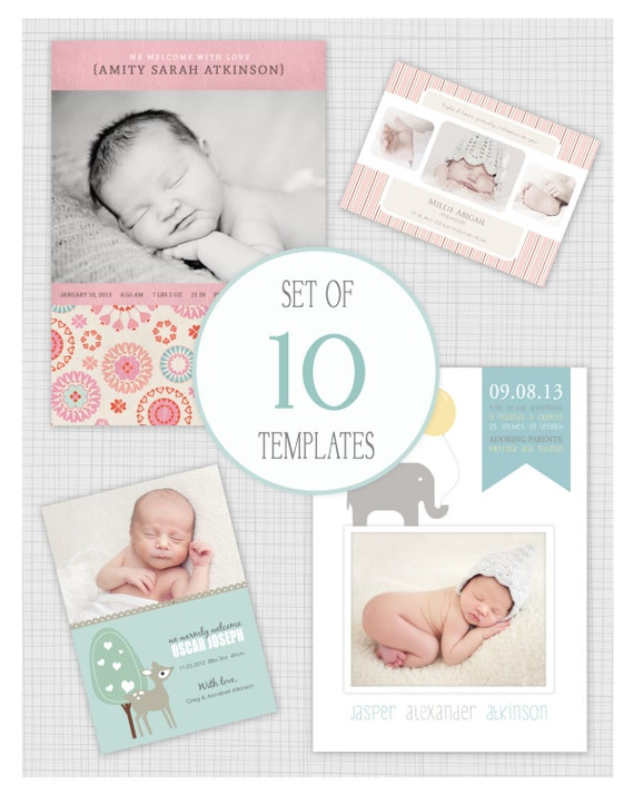 instant download 10 psd birth announcement templates mixed