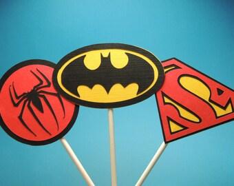 Superhero cupcake toppers.  Batman cupcake toppers.  Superman cupcake toppers. Spiderman cupcake toppers. Fast shipping.