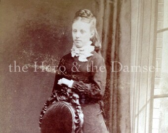 Lady with Braided Hair // Antique CDV photograph of a beautiful woman by ornate chair // Elegant woman CDV portrait, antique hair style