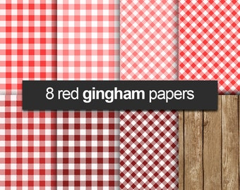 """Gingham digital paper: """"RED GINGHAM"""" with gingham patterns paper in red, pink, wood"""