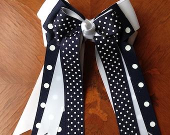 Equestrian Hair Bows/Navy Blue Horse Show Bows/Accessory