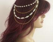 Gold Wedding headpiece, Bridal hair accessory, Pearl headpiece, Wedding hair chain, Bridal hair chain