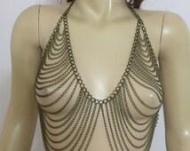 antique body chain, body necklace, body jewelry, body harness