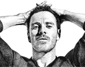 Michael Fassbender Ink Stippling Drawing Illustration Giclee Art Print - X-men Magneto
