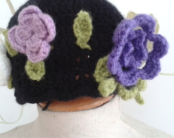 French hand-crochetted little girl's cloche hat