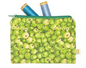 Green apples zipper pouch, pencil case, notions pouch