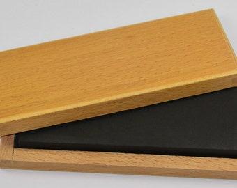 Large XL gold testing acid stone & wood box gold silver test scrap jewellers