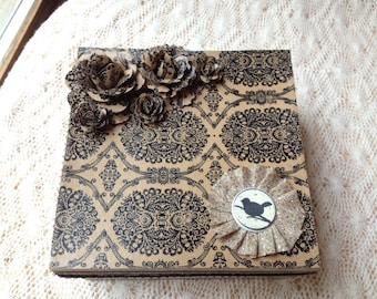 Hand Decorated Gift Box-Burlap Birdie-6 in.