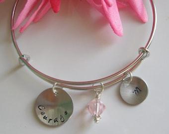 Cancer Survivor Gift Inspirational Bracelet Inspirational Jewelry Inspirational Gifts Expandable Bracelet Personalized Jewelry Courage Gift